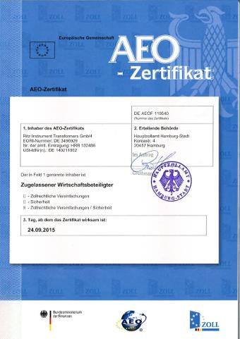 Zertifizierungsurkunde RITZ AEO F